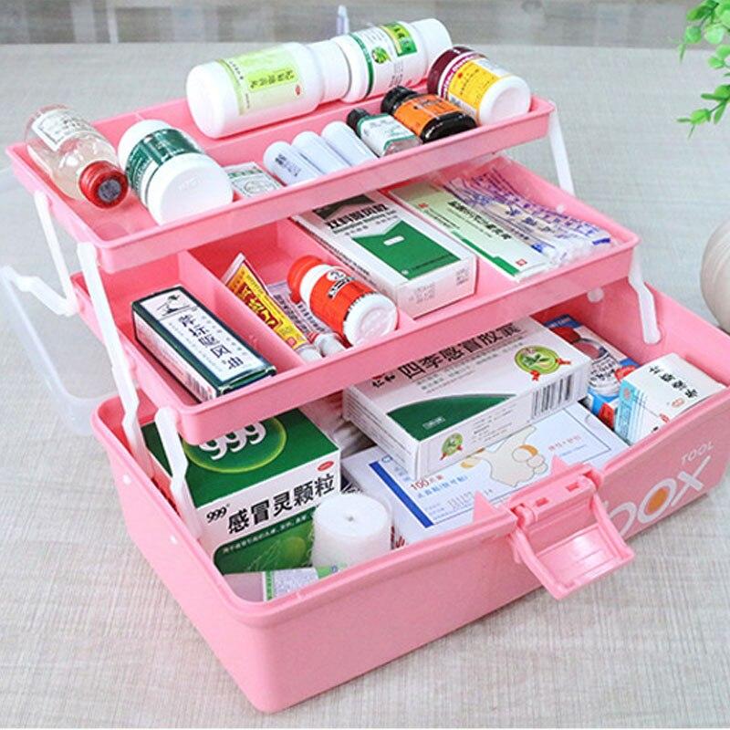 Трехуровневая коробка для хранения лекарств аптечка пластиковый складной медицинский сундук-органайзер для макияжа пенал для канцелярски...
