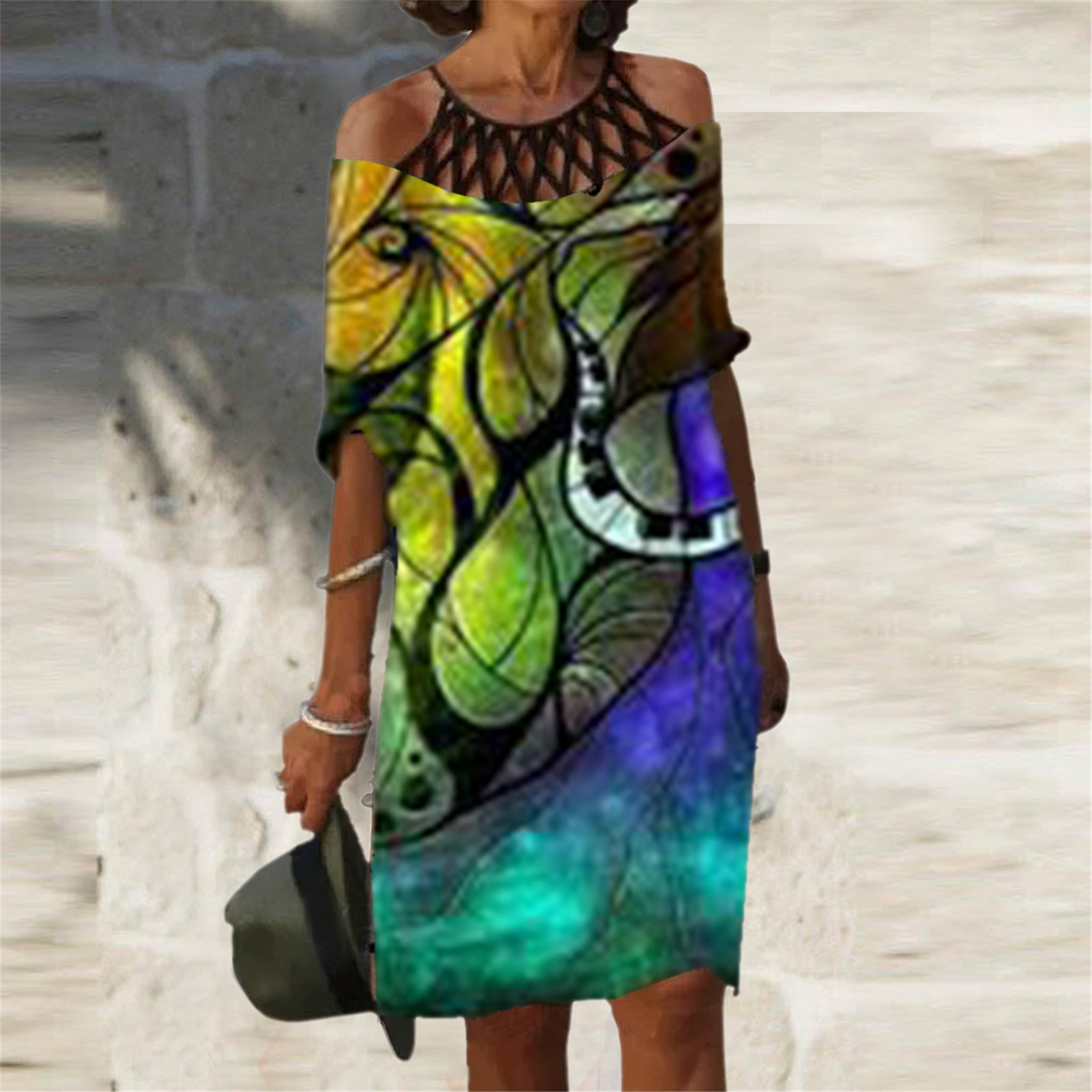 40# Halter Dress Plus Size Tie-dye Print Dress Woman Medium Length Sleeve Dresses For Women 2021 Harajuku Vestido De Mujer