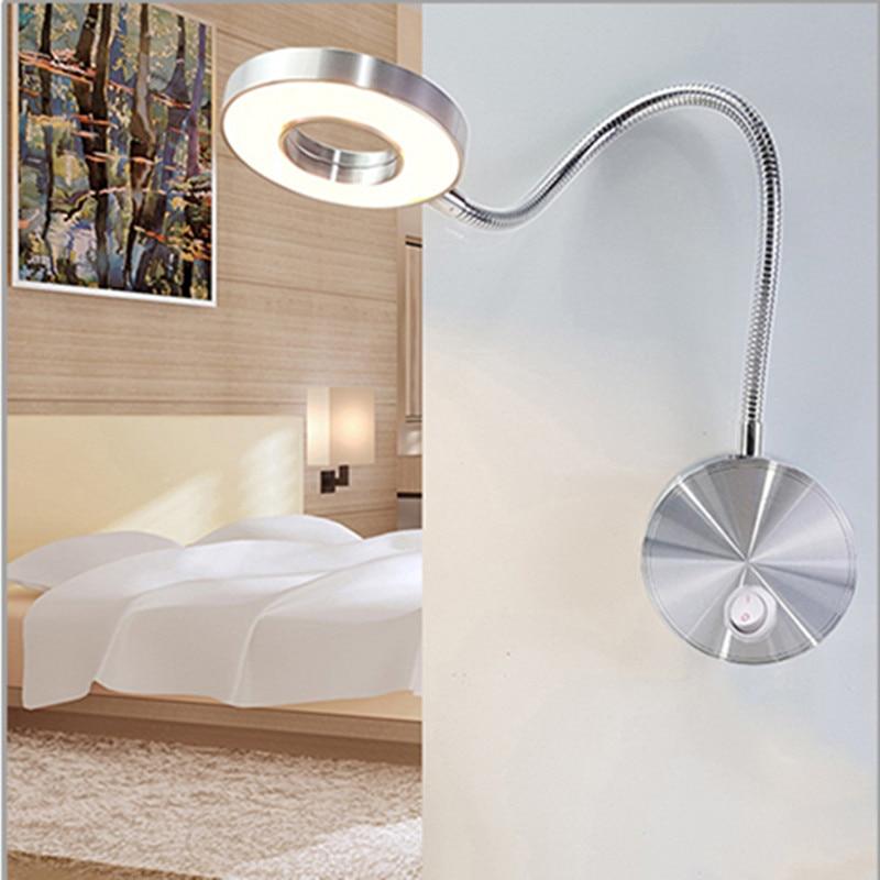 LED Wall Lamp 3W  Hoses  Flexible Home Hotel Bedside Reading Lamp Book Lights Aluminum Light LED Bulbs Bedside Reading Lamp Wall