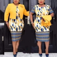 african office dresses for women printed bodycon high waisted dress jackets sets elegant business work wear clothes midi new