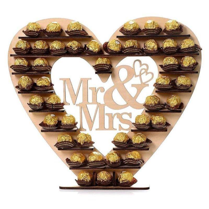 Boda adornos de madera Sr. Y Sra. Chocolate exhibición Magdalena de caramelo soporte para postres Casa Decor boda fiesta, bares