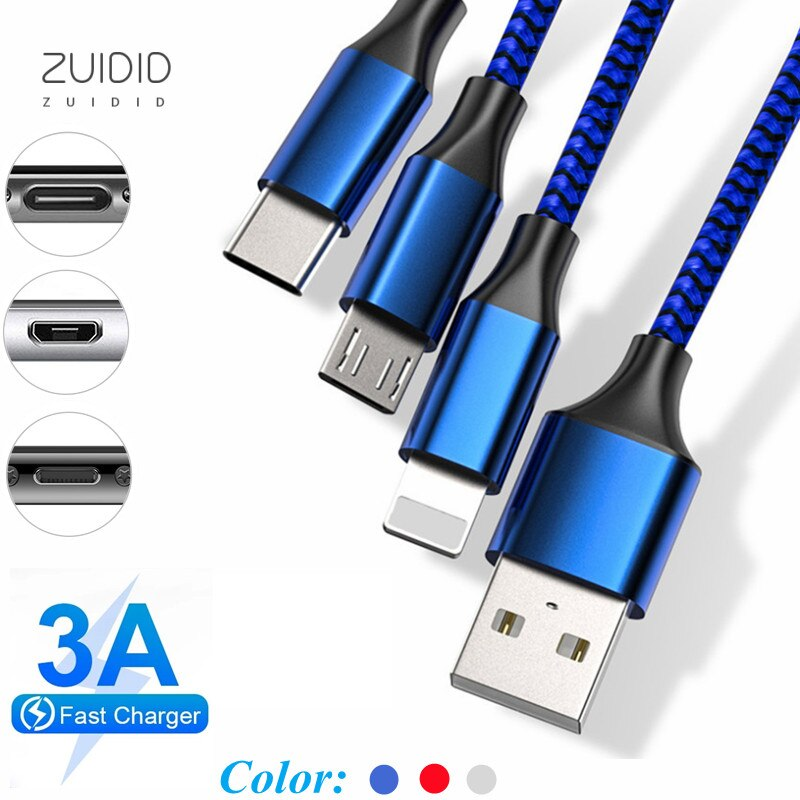 Cable de datos de 3 colores para coche, Cable de carga rápida...