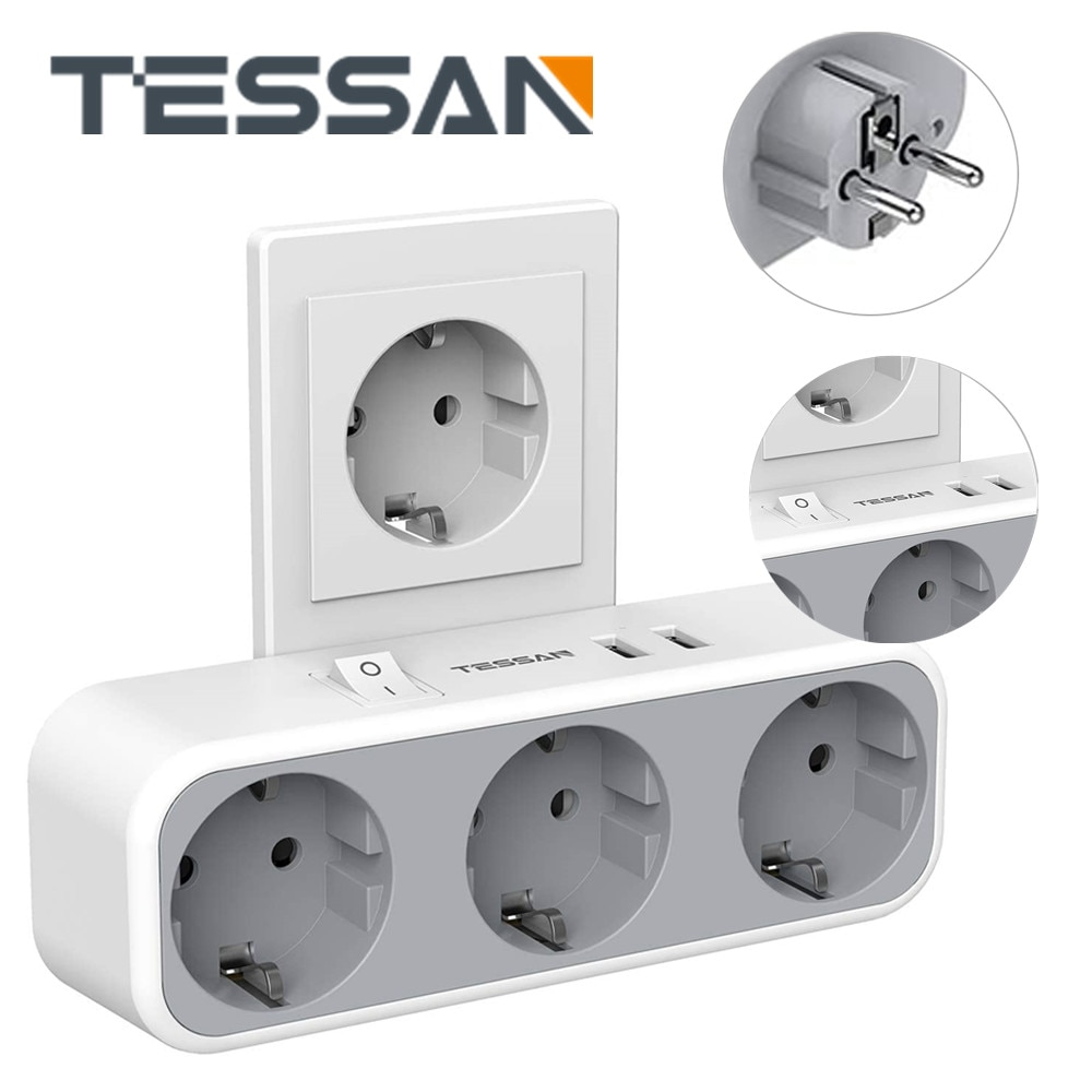 TESSAN Europea Alargador Enchufe de extensión 3 puntos y 2 USB conector...