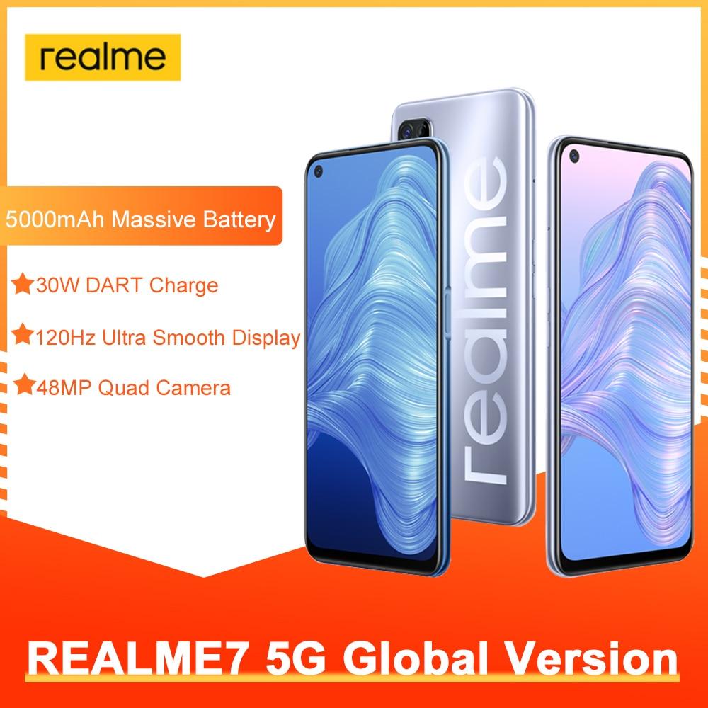 Глобальная версия Realme 7 5G 6 ГБ + 128 Гб полноэкранный 120 Гц Дисплей 5000 мА/ч, 30W Дротика заряда 48MP Камера смартфон