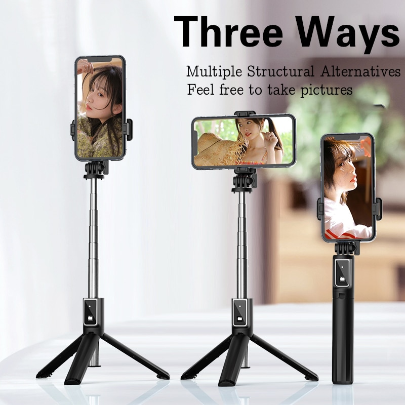 Portable Tripod Selfie Stick for Mobile Phone Photo Taking Live Broadcast Chargable Bluetooth Remote Control Tripod Stand Pole