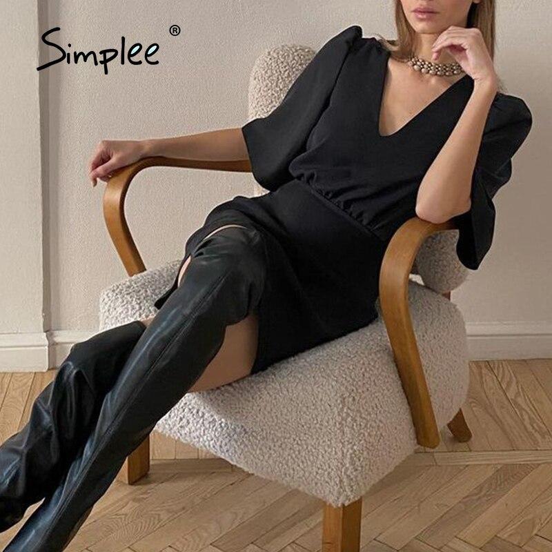 Simplee Chic black short sleeve summer women dress 2021 Sexy V-neck solid High Street dress Elegant A-line ladies mini Vestidos
