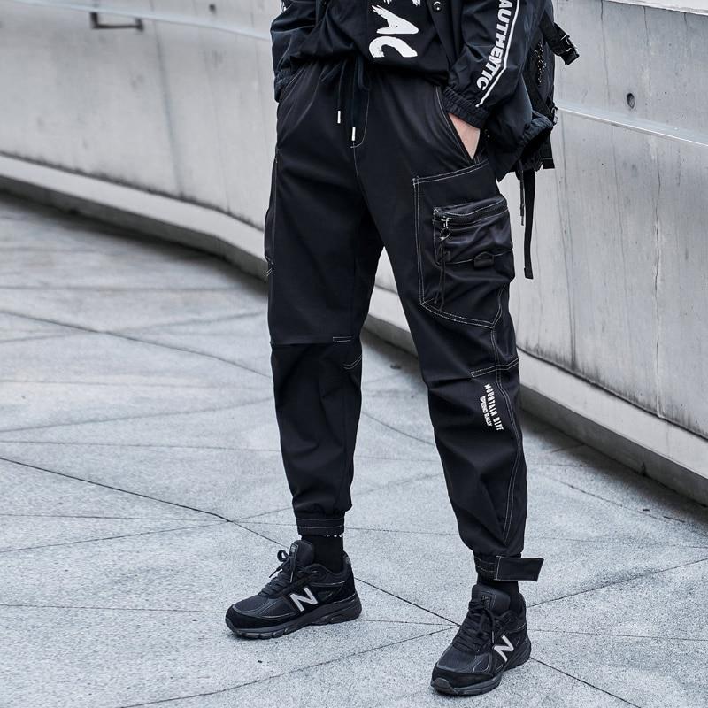 الهيب هوب الرجال السراويل متعددة جيب مرونة الخصر لطيفة الخريف سراويل نسائية الشارع فاسق الهيب هوب بناطيل كاجوال ركض السراويل البضائع الذكور