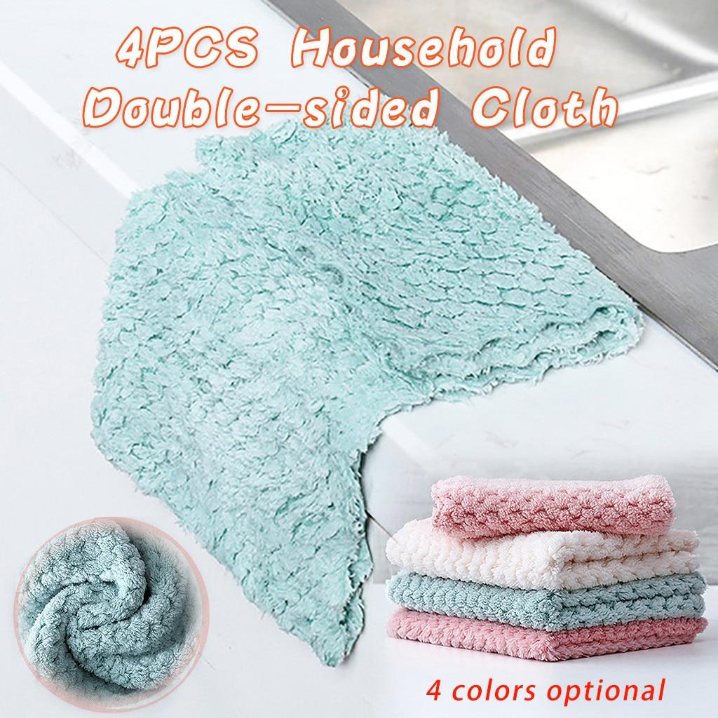 4PCS Household Dual-use Coral Fleece Dish Cloth Towel Practical kitchen towel Durable microfiber cloth 2020 cosas de cocina