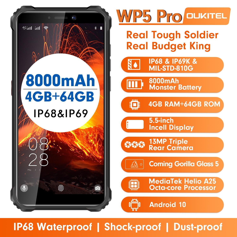 Смартфон OUKITEL WP5 Pro, IP68 водонепроницаемый, 4 Гб 64 ГБ, мобильный телефон, 8000 мАч, Android 10, тройная камера, распознавание лица и отпечатков пальцев, 5...