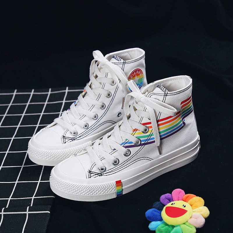 2019 herbst Frauen Regenbogen Schuhe Hohe Up Schnürung Mädchen Weiße Turnschuhe Bunte Studenten Casual Schuhe Zapatillas Lona Mujer K6-23