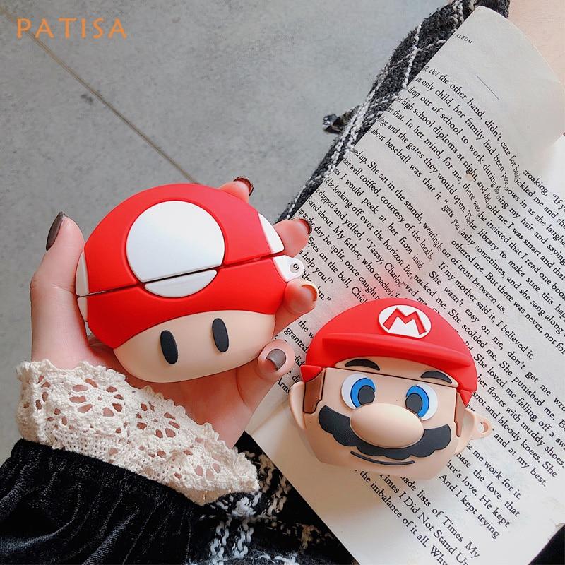 Funda 3D de Super Mario Brother con Toad y Seta para auriculares, funda blanda de silicona para Airpods Pro, funda protectora para Airpods 1 y 2