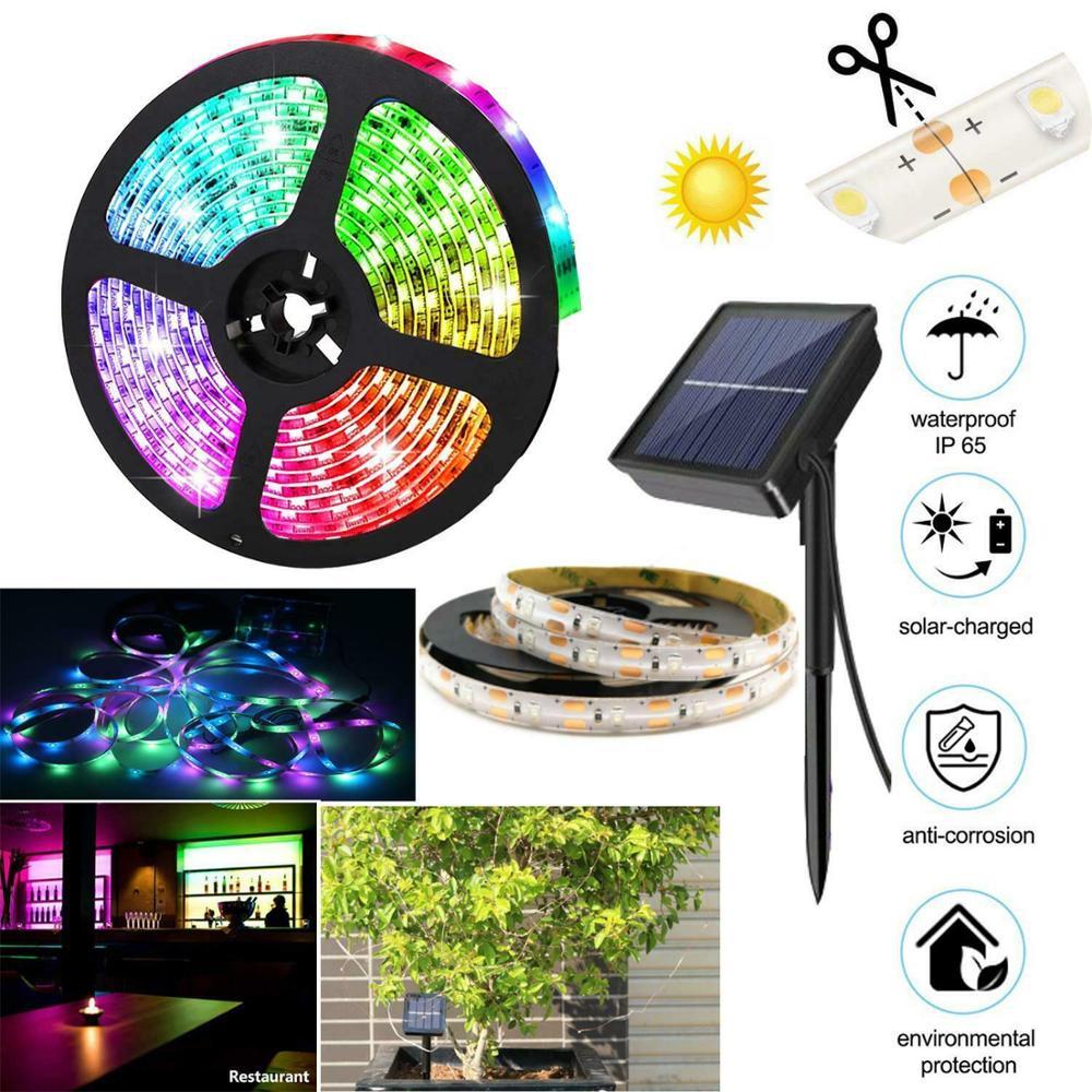 5M RGB Solar Powered LED Light Strip 150 LEDs 2835 SMD Outdoor Waterproof IP65 Flexible Adjustable String Lights Ribon Tape Lamp