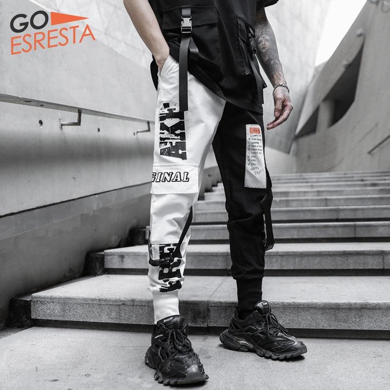 Hip Hop Cargo Pants Men Streetwear Black White Stitching Trousers Casual Harem Joggers Sweatpants Harajuku Tide Mens Clothing