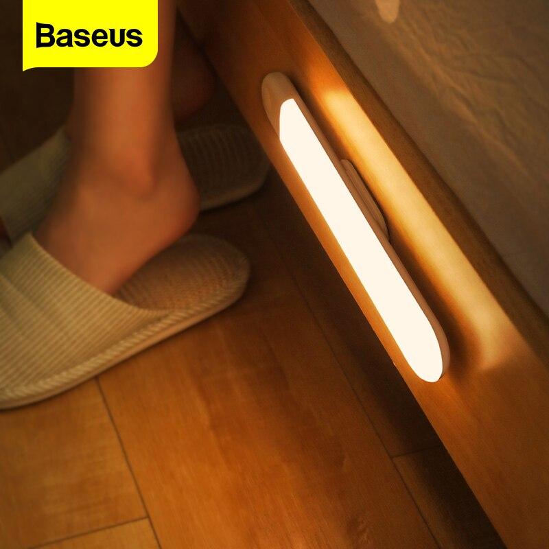 Baseus LED ضوء الليل PIR محس حركة ضوء USB قابلة للشحن أضواء ليلية المغناطيس الجدار ضوء مصباح الذكية لغرفة النوم خزانة