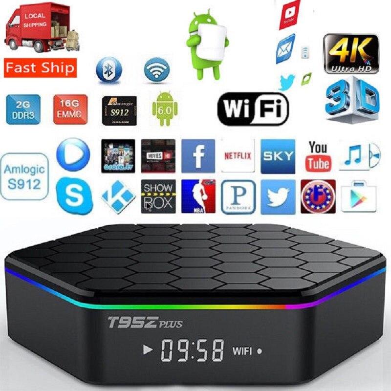 T95z mais android 7.1 caixa de tv amlogic s912 4 k conjunto superior caixa octacore 2 gb/3 gb 16 gb/32 gb duplo wifi t95z smart media player