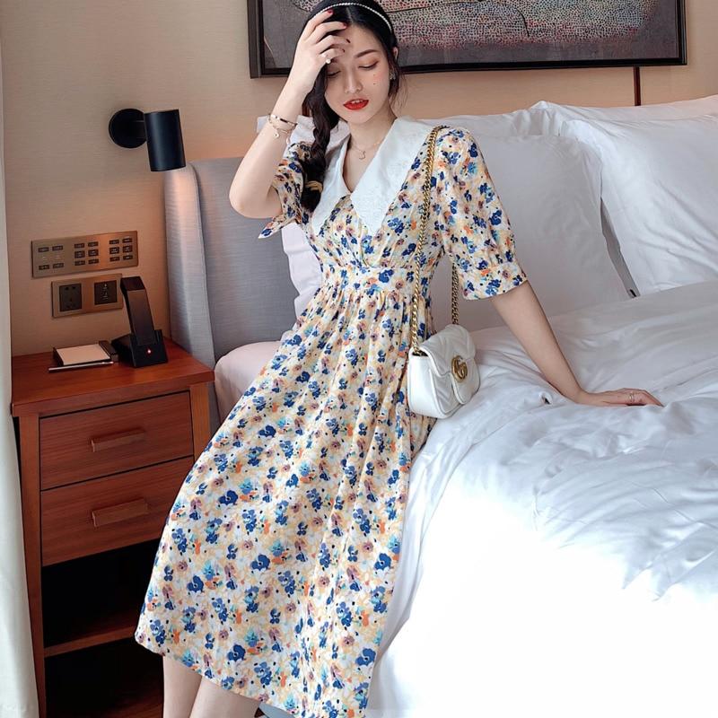 Summer Fashion Female Vintage Long Dress Women Elegant Floral Print Slim Peter Pan Collar Short Sleeve Chic Boho Beach Dress