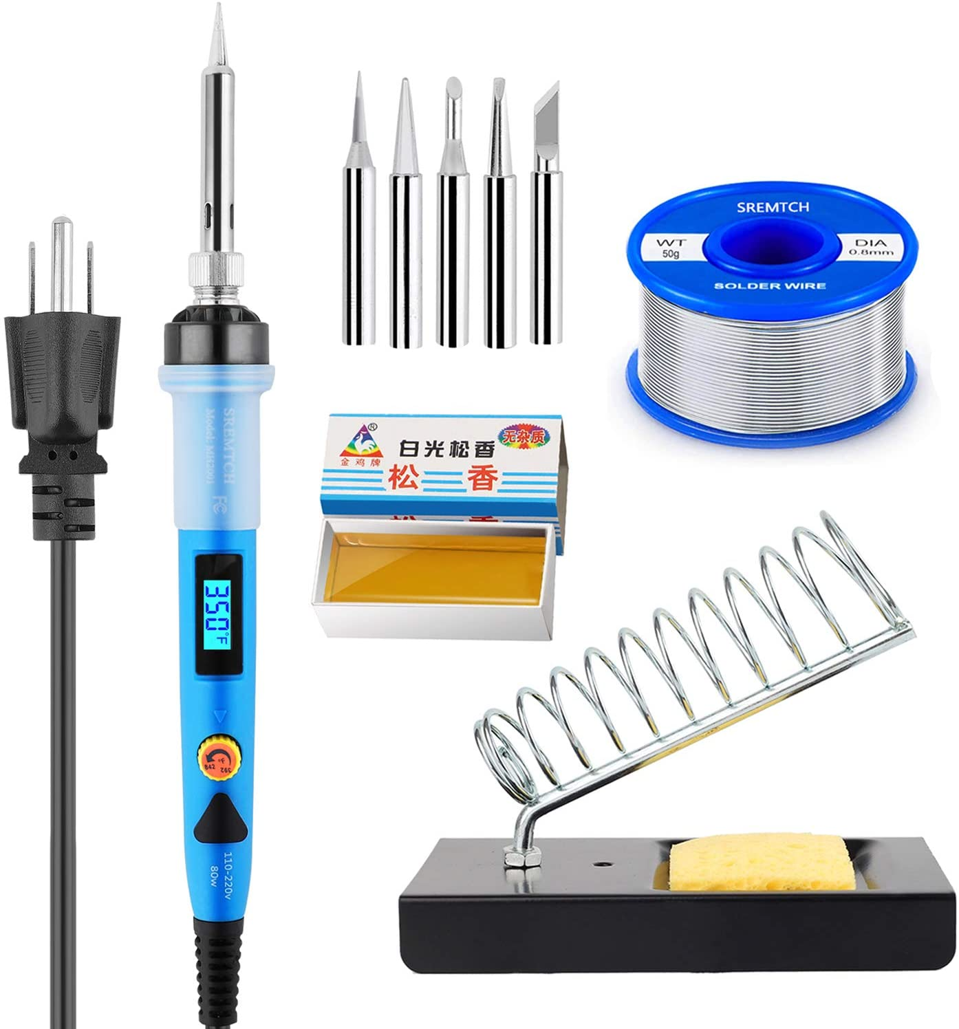Soldering Iron Kit, 80W Digital LCD Solder Gun Adjustable Temperature Controlled Fast Heating Welding Tools for Electronics