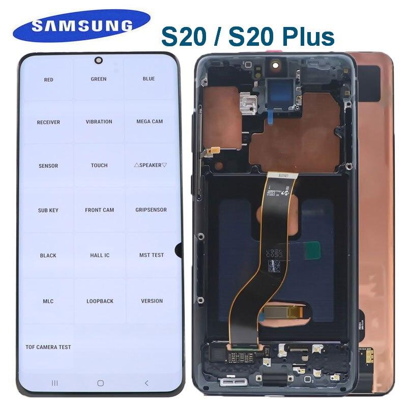 الأصلي AMOLED لسامسونج غالاكسي S20 Lcd G980 SM-G980F LCD s20 زائد G985 G985F عرض تعمل باللمس محول الأرقام مع الميت بكسل
