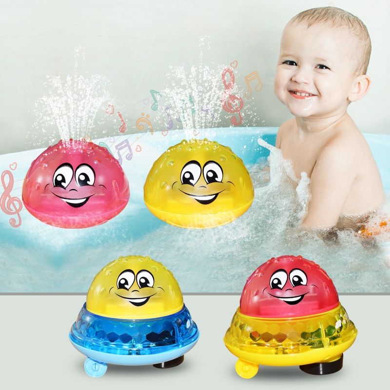 Baby Spray Water Bath Toys Flashing LED Light Rotate with Shower Infant Toddler Musical Ball Squirting Sprinkler Bathroom Toys