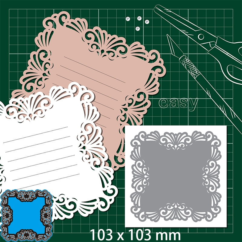 Cutting Dies Hollow Lace Envelope Greeting Card DIY Scrap Booking Photo Album Embossing Paper Cards 103*103mm