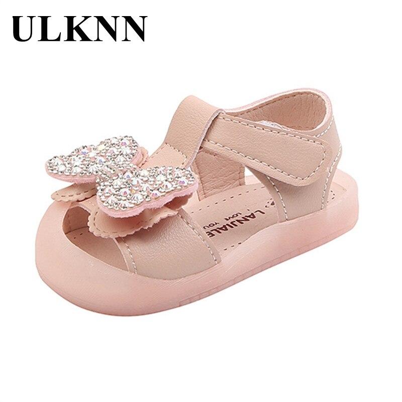 ULKNN Summer Baby Girls Sandals Girls Baby 0-2 Summer Princess Toddler Shoes Baotou Soft Bottom Sandals Bow Falt Shoe Size 15-19