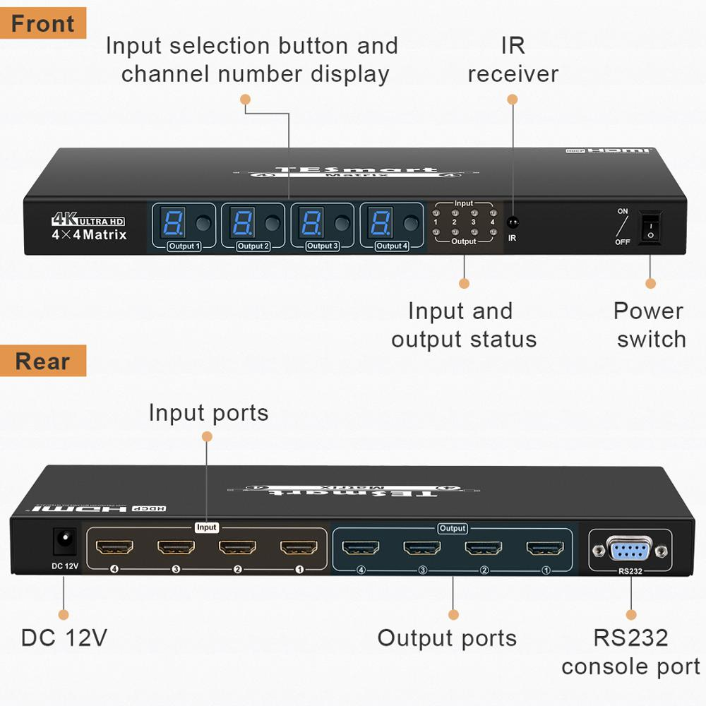 4x4  Matrix  4 Ports Inputs and 4 Port Outputs with RS232 Supports Ultra HD 4Kx2K@30HZ, HDCP1.3, 3D. Compatible with HDMI enlarge