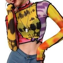 Camisola de mangas compridas de gola alta moda feminina engraçado costura casual manga longa colheita topo outono hip hop streetwear