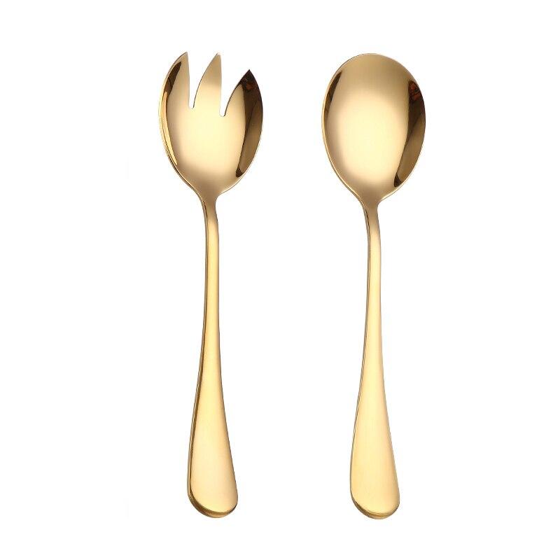 Vajilla, juego de cuchara dorada, cubiertos de acero, tenedor para ensalada 2 uds, cuchara para ensalada, juego de cuchara para servir de acero inoxidable, cucharas únicas