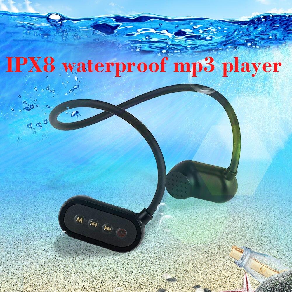 Le plus nouveau IPX8 ip68 os Conductio étanche natation casque Bluetooth lecteur MP3 Sport de plein air lecteur de musique MP3 aides auditives