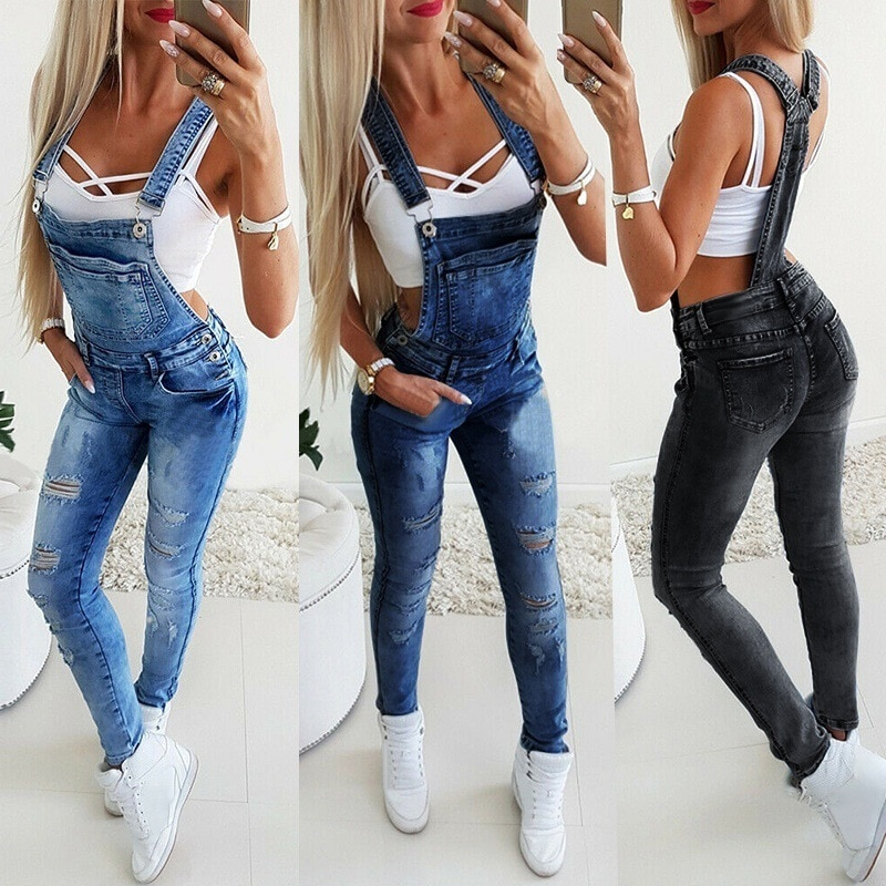 New Style Women High Wais Broken Hole Jeans Fashion Sexy Female Multi-Pocket Pants Overalls Jumpsuit The Young Girl Skinny