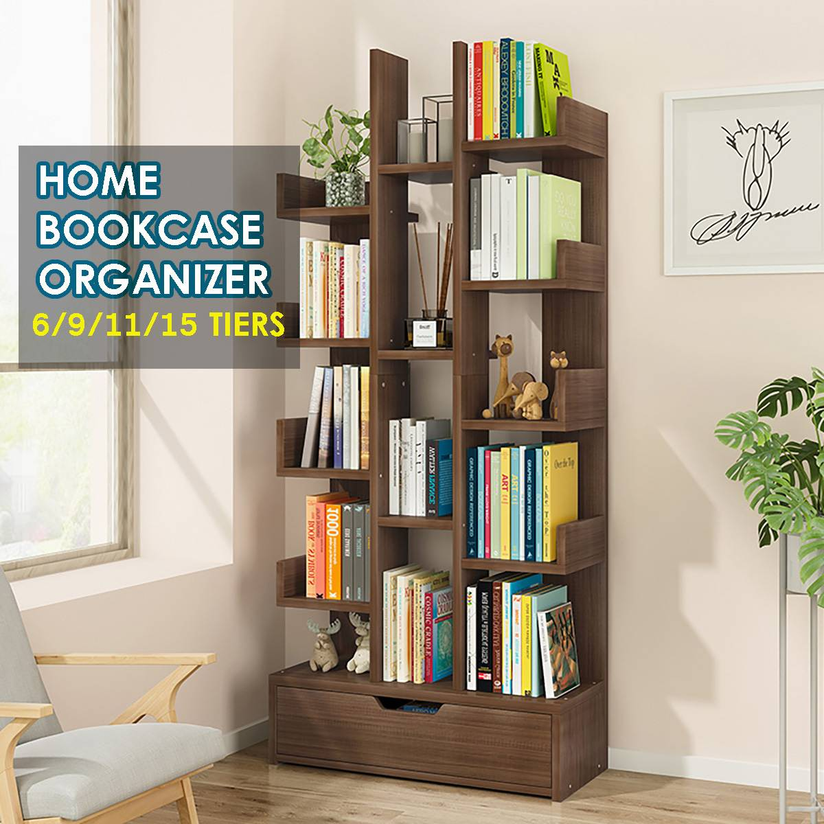 Bücherregale Buch-Rack Display-Regal Möbel-Decor Studie-Bücherregal Holz Baum-Shaped Multi-Grid