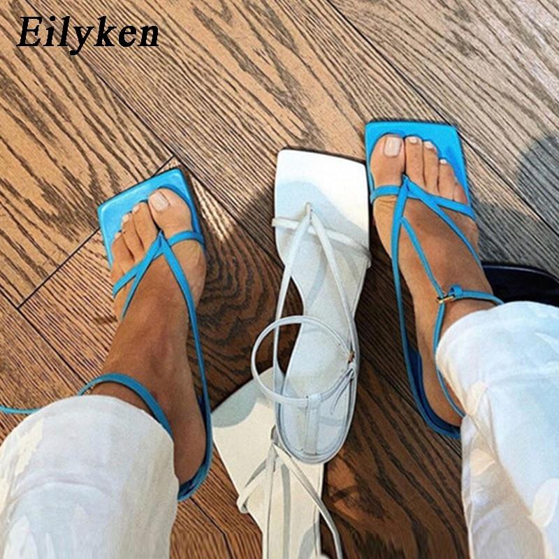 Eilyken/Новые модные летние женские сандалии-гладиаторы с узкими ремешками и пряжкой на щиколотке