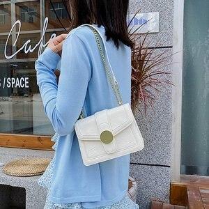 Women's Small Handbag Classic Chain Flap Bag with Metal Badge Designer Shoulder Crossbody Square Handbags Ladies Top Handle Bags