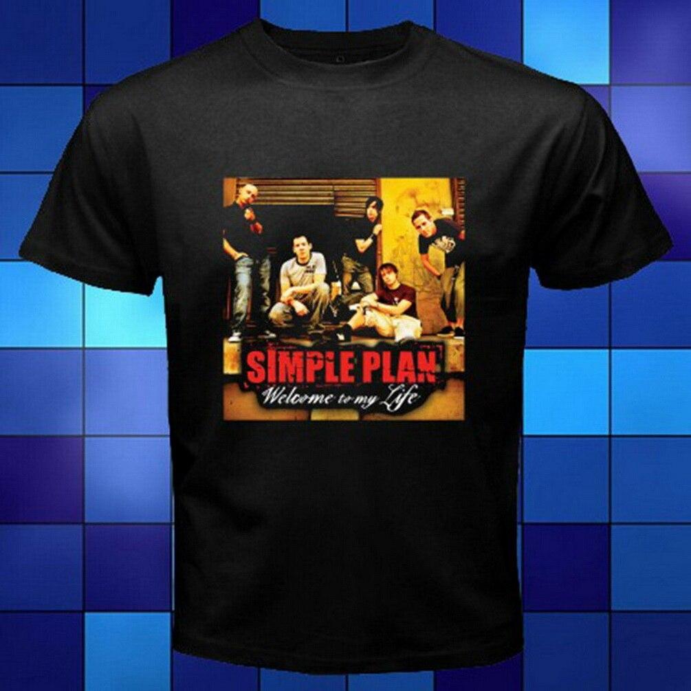Simple Plan Bienvenido a mi vida Punk Rock Band Logo negro camiseta tamaño S a 3XL Camiseta de algodón humorística