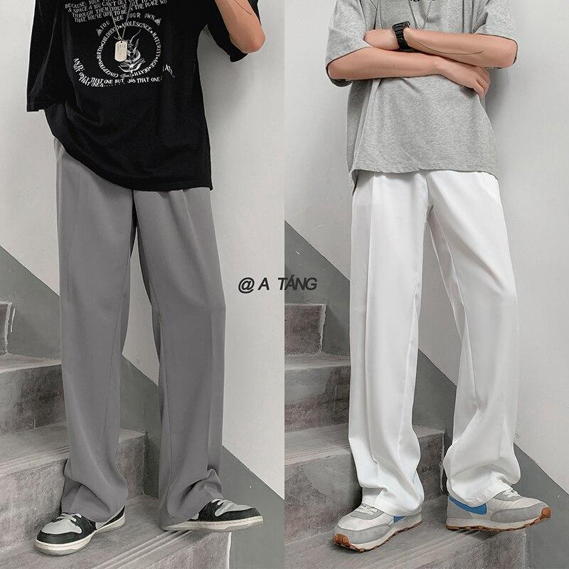 Брюки с широкими штанинами мужские модные серые черные белые повседневные брюки мужские брюки корейские свободные прямые штаны Костюмные ...