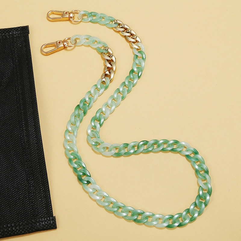 Unique Multicolor Acrylic Link Chain For Women Bohemia Sunglasses Mask Chains Gold Color New Fashion Jewelry Accessories Lanyard