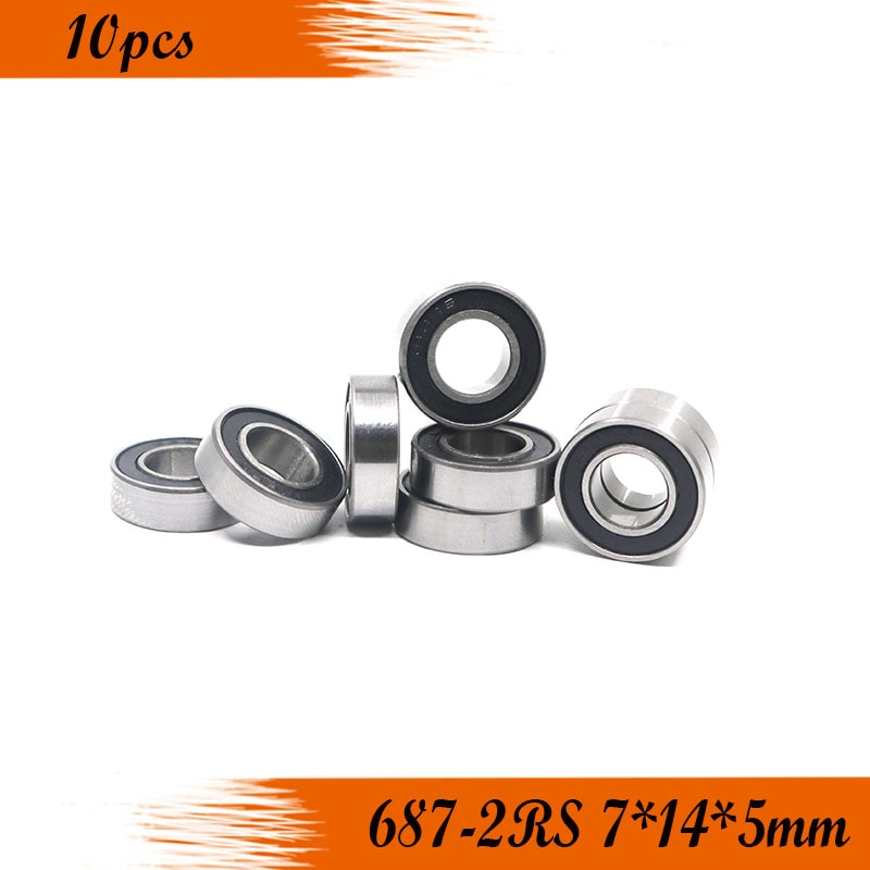 10pcs 687-2RS 7*14*5 mm rubber sealed deep groove ball bearing 687 687RS 7x14x5 MINI miniature steel ball bearings