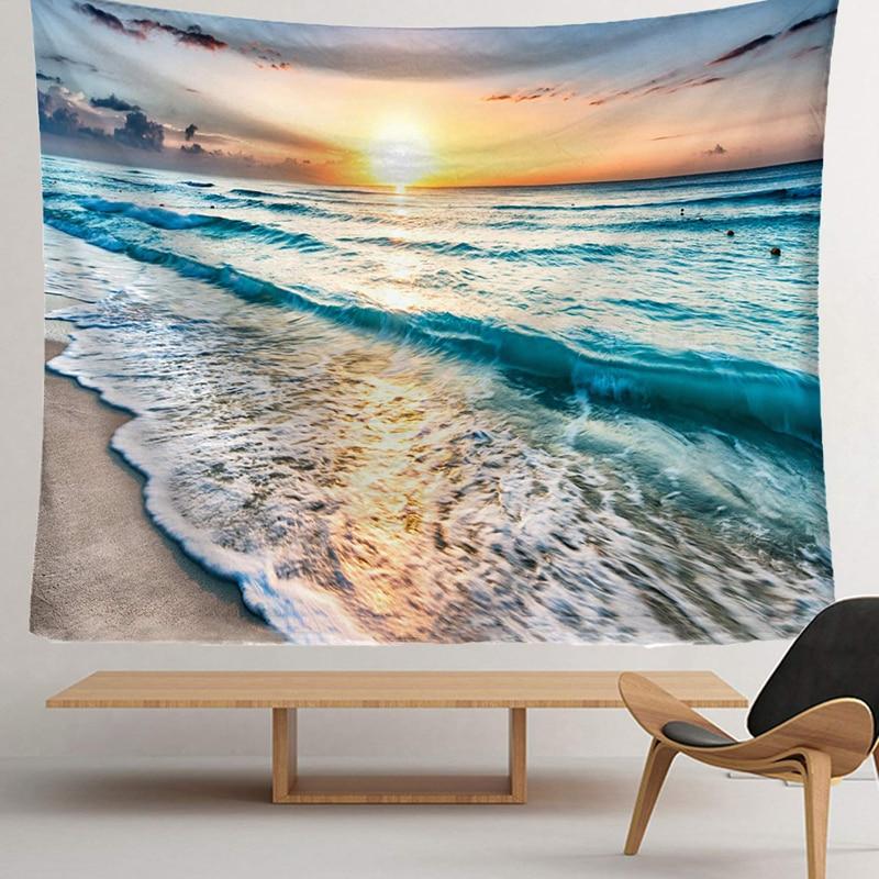 150x130 см океан волны гобелен настенный океанический пляж гобелены морской закат гобелены для Гостиная Спальня общежития домашний декор