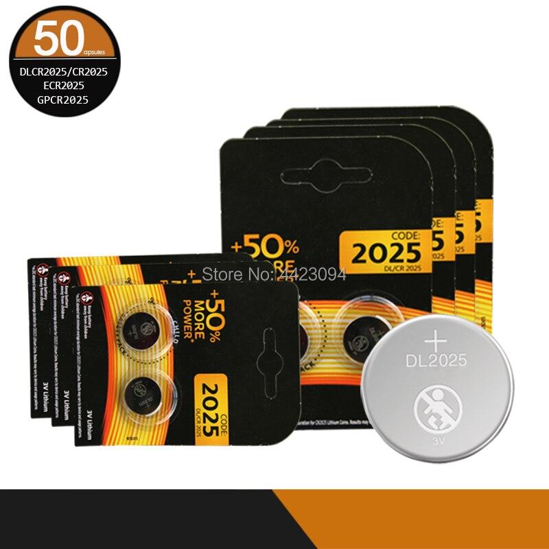 Cr 2025 3V batería de litio de moneda 50 unids/lote para DURACELL Original cr2025 pilas de botón para tablero principal de juguete de Control remoto