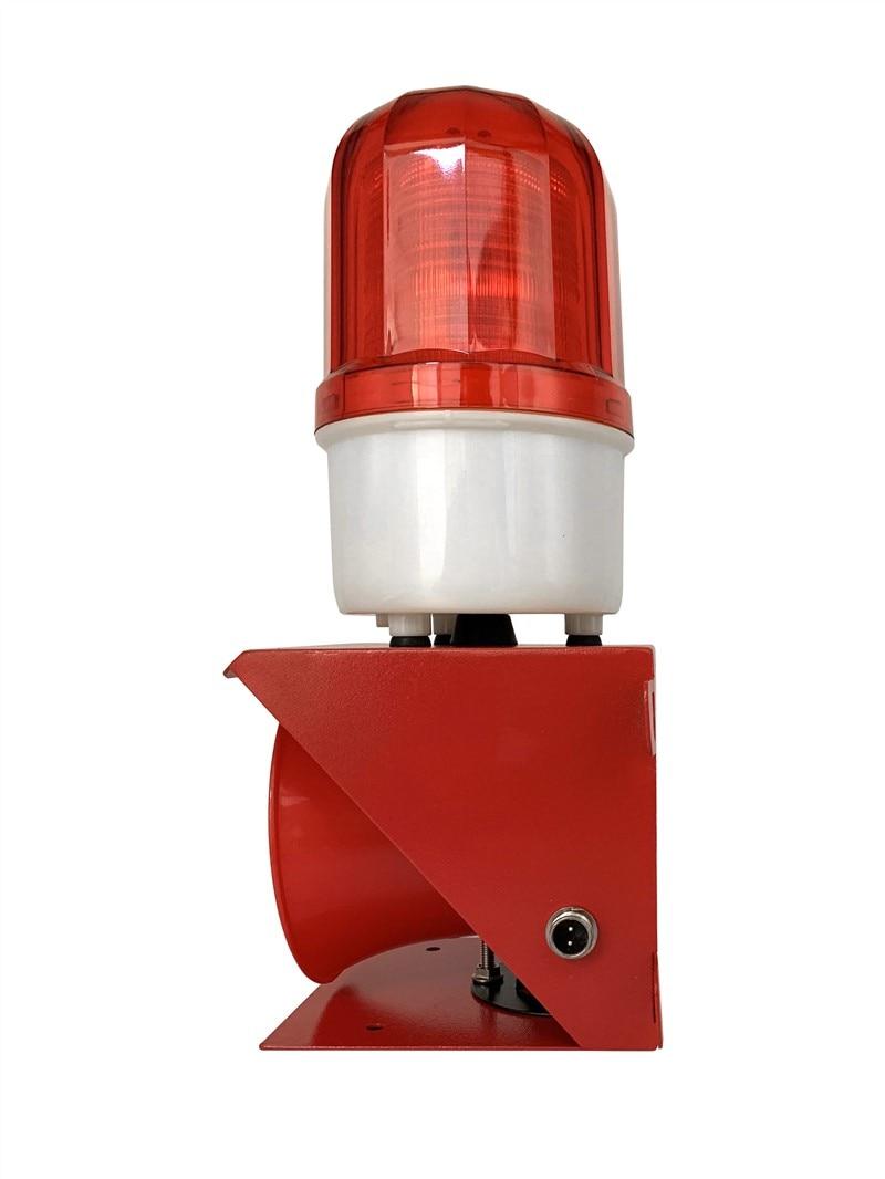 Outdoor 24W 120db Sound Fire Loudspeaker Siren Alarm Horn Emergency Sound and Light Alarm with Red LED Flashing Strobe 1set tone sound car emergency siren horn emergency amplifier hooter 12v 100w