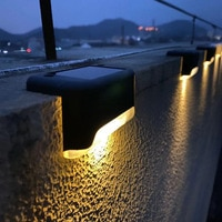 Светодиодный ная Водонепроницаемая настенная лампа, уличный светильник на солнечной батарее для дорожек, лестниц, садового ландшафта, ступ...