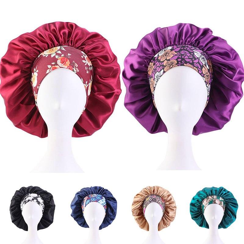 2021 Floral Head Wearing Turban Hat Fashion Beautiful Satin Hat Bonnet Caps Comfort Colorful Night S