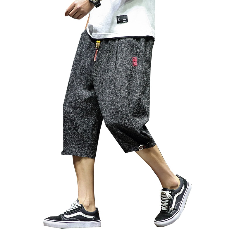 Pantalones recortados de algodón para hombre, pantalones cruzados recortados de lino, pantalones casuales de verano para hombre, Pantalones rectos de pierna ancha a la altura de la pantorrilla