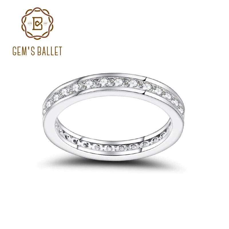 خاتم زواج من الفضة الإسترليني عيار 925 مويسانيتي فاخر ، مجوهرات فاخرة للنساء (0.99Ct 2 مللي متر لون EF)