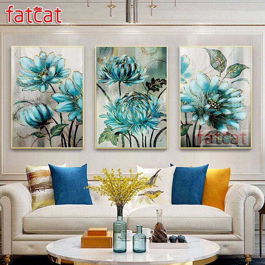 FATCAT 5d pintura de diamante diy flor azul taladro redondo cuadrado completo diamante bordado equipo de diamante de imitación tríptico decoración para el hogar AE003