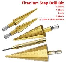 Foret pas à pas 3-12mm 4-12mm 4-20mm HSS titane acier travail du bois métal forage ensemble Hex tige étape cône outils de coupe