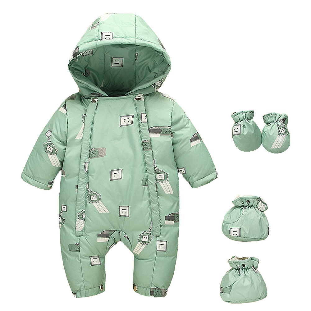 Thicken Rompers for Toddler Winter Hooded Jumpsuits Baby Warm Clothes Cute Snowsuit with Gloves and Shoes Loose Down Clothing