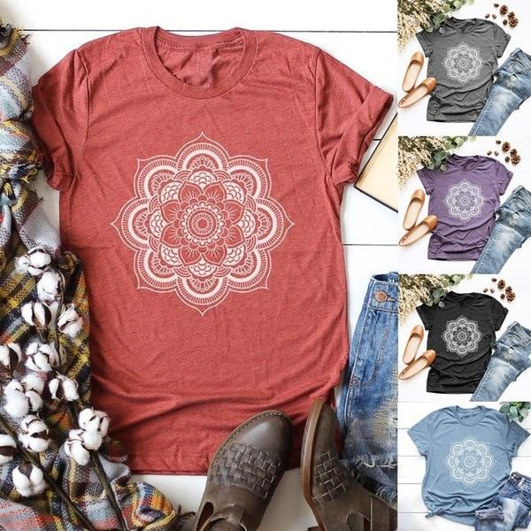 Summer Women Tshirt Fresh Lotus Printed Short Sleeve Sweet Loose Tee Shirts Round Neck Leisure T-shirt Plus Size XXXL