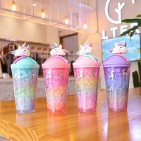 unicorn creative water bottle straw type with lid summer large capacity student cute ice cup plastic female cartoon r2012