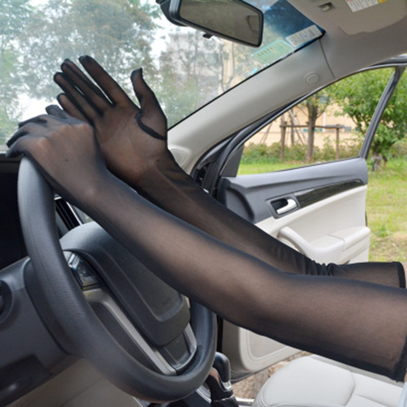 Elegant Women Ultra-Thin Long Summer Driving Cycling Sexy Black Sunscreen Gloves Female Anti-UV Elasticity Lace Mesh Gloves H98